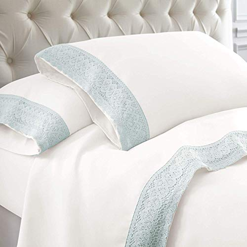 - Bedding Kraft 1000 Thread Count White/Seamist, Twin Size - 100% Egyptian Cotton Crochet LACE Bed Sheet Set