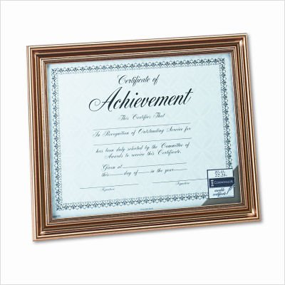 DAX Antique Colored Document Frame with Certificate, Metal, 8-1/2 x 11, Gold (N1818N1T) ()
