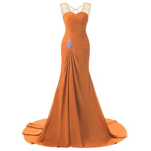 2a2a380e90c OYISHA Womens Long V-Neck Evening Dress Bead Chiffon Bridesmaid Formal Gown  WS1 Orange 12