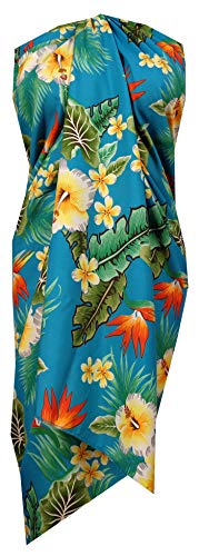 Sarong 46 Flower Leaf Beach Swimsuit Wrap Plus Size Cover up Pareo Turquoise]()