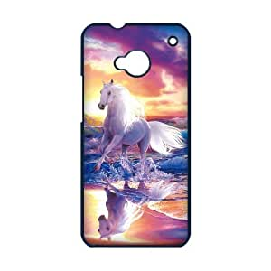 HTC ONE M7 Case,Running White Horse With Splashed Water Colorful Sunset High Definition Wonderful Design Cover With Hign Quality Hard Plastic Protection Case