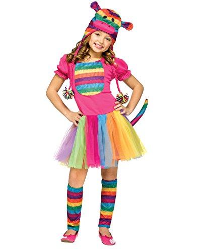 Fun World - Rainbow Sock Monkey Child Costume - Small (4-6) - Multi-colored ()