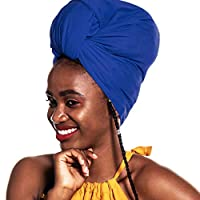 ACRABROS Stretch Jersey Turban Head Wrap, Urban Hair Scarf - Ultra Soft, Extra Long,Breathable,Blue