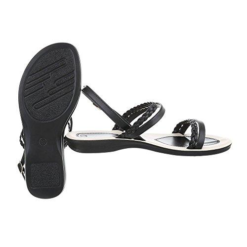 Schuhcity24 Damen Schuhe Sandalen Riemchen Pumps Schwarz