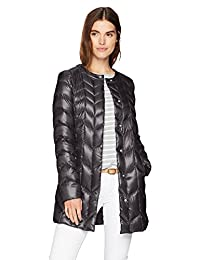 217d24fe77e Via Spiga Womens Collarless Packable Down Jacket with Chevron Stitch Detail Down  Coat