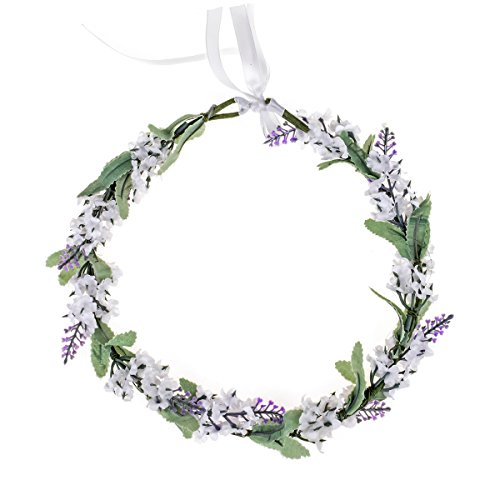 Floral Fall Boho Headband Flower Crown Festival Wedding Beach Hair Wreath F-01 (Y-Dark Blue) (Lavender White)