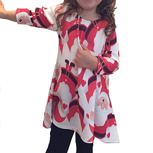 Baby Girl's Playwear Dresses Claus Xmas Long Sleeve Swing Party Dresses(Red-3-6 Years) ()
