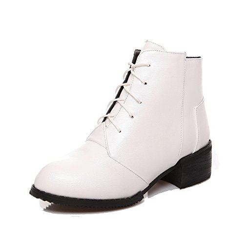 Women's Soft Material Lace-Up Round Closed Toe Kitten-Heels Boots with Knot