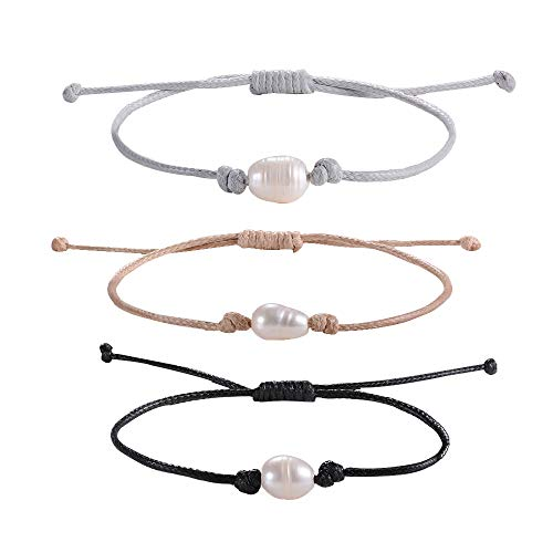 - Shonyin Waterproof Friendship Bracelets Single Pearl Black Cord Bracelets Handmade for Women Girls Teens 3pcs