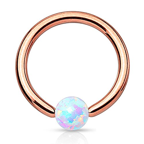 BodyJ4You Captive Bead Ring Piercing 16G Rose Goldtone Created-Opal Nose Tragus Nipple (Gold Opal Nose Ring)