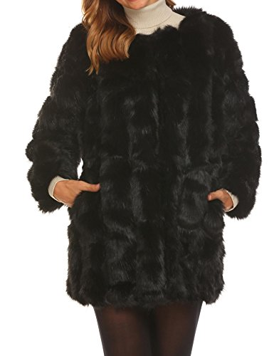 Soteer Women's Thick Outwear Winter Warm Long Faux Fur Coat Jackets Black XL by Soteer (Image #1)