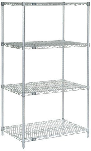 Nexel 4-Shelf Wire Shelving Unit, Silver Finish, 24