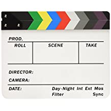 "Neewer Acrylic Plastic 10x12""/25x30cm Dry Erase Director's Film Clapboard Cut Action Scene Clapper Board Slate with Color Sticks"