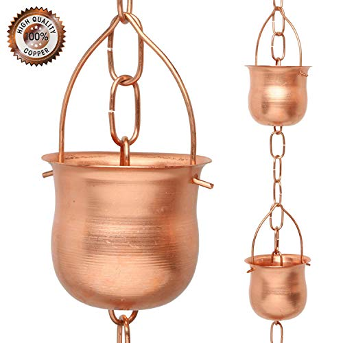 - Marrgon Copper Rain Chain - Decorative Chimes & Cups Replace Gutter Downspout & Divert Water Away from Home for Stunning Fountain Display - 6.5' Long for Universal Fit - Pot Style...