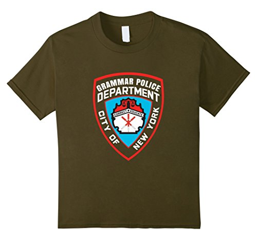 Kids Grammar Police Department Corrections Inmate Costume T-Shirt 4 Olive - Grammar Girl Costume