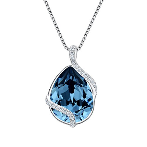 (EVER FAITH 925 Sterling Silver CZ Twist Teardrop Adjustable Pendant Necklace Denim Blue Adorned with Swarovski Crystals)