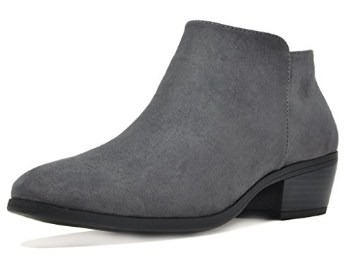 TOETOS Women's Boston-01 Grey Suede Block Heel Side Zipper Ankle Booties Size 8 M - Boots Ankle Detail