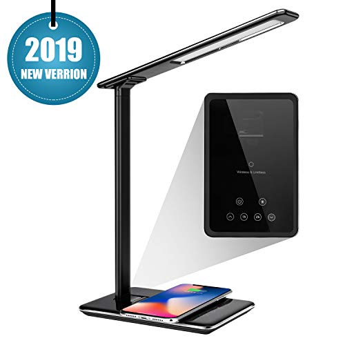 lED Desk lamp with Fast Wireless Charger, 2019 Stylish Dimmable Eye-Caring Table Lamp with 5V/3A USB Port, 4 Color Modes, 12 Brightness Levels, 1H/2H Timer, Touch Control for All Qi-Enabled Devices