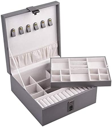 指紋ロック付きジュエリーボックスオーガナイザー/USB充電2層大容量デスクトップオーガナイザー/イヤリングブレスレット/リング/時計/アクセサリーレザー-グレー