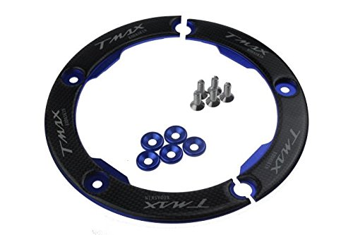 PRO-KODASKIN Motorcycle CNC Carbon Transmission Belt Pulley Cover for Yamaha tmax 530 2012-2017 t-max 530 (Blue) (530 Carbon)