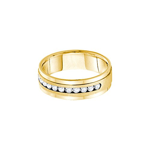 14kt Yellow Gold Mens Round Channel-set Diamond Single Row Wedding Band Ring 1.00 Cttw by JawaFashion