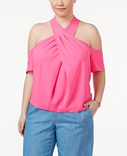 RACHEL Rachel Roy Women's Plus Size Halter Cold Shoulder Top, Neon Pink, 18W