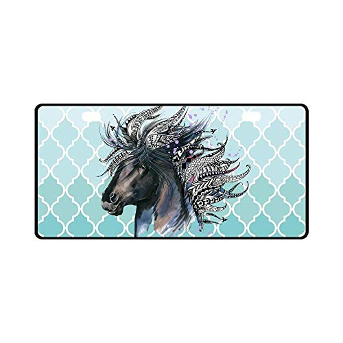 (Jesspad Car License Plate Holders, Watercolor Animal Unicorn Head Art with Teal Moroccan Trellis Automotive,Auto Metal Car Bumper Accessories Tag)