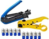 Elibbren Coaxial Compression Tool,Coax Cable Crimper Kit Adjustable RG6 RG59 RG11 75-5 75-7 Coaxial Cable Stripper with 10 PCS F Compression Connectors - Blue
