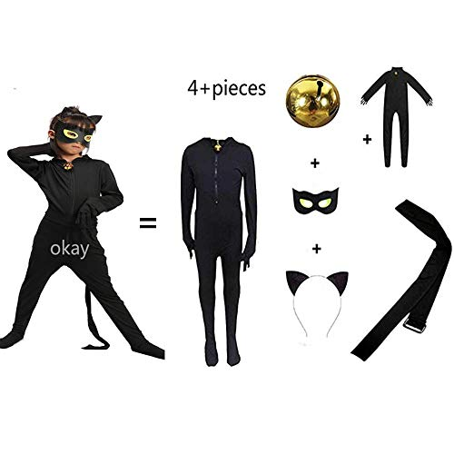 Kid's Costume Boy's and Girls Costume Black Cat Cosplay Costume for Halloween -