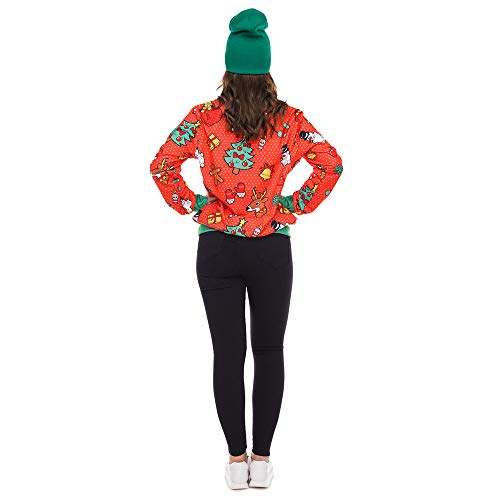 Chemisier Rouge3 Femmes Neige de Tops Wapiti Manches Shirts Bonhomme No l Magiyard Sweat Longues Impression R6ZxfOqq