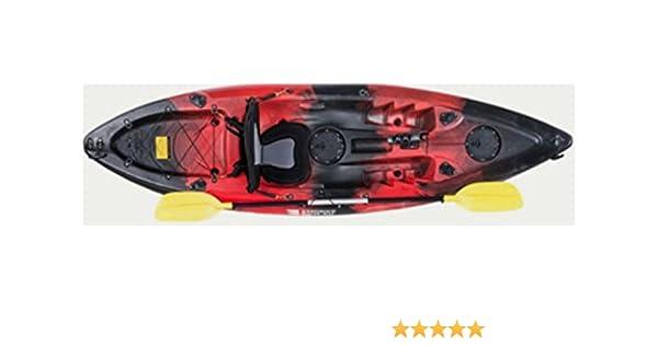 MegaPiscinas. com Kayak DE Pesca 295x78x35 cm Rojo-Negro | Canoa Equipada con Asiento, 2 tambuchos, Remo de Aluminio, 2 cañeros fijos y 1 cañero ...