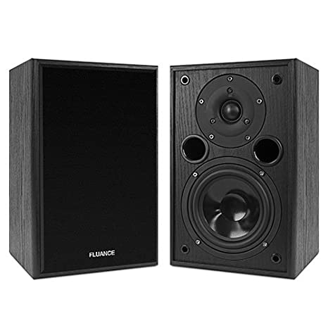 Fluance AV5 Powerful Dynamic Two Way Bookshelf Speakers For Home Theater Music Systems