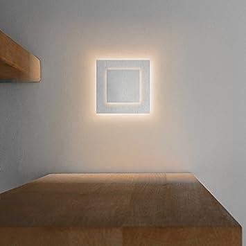 LED Treppenbeleuchtung DUPLEX Aus Aluminium In Eckig Für  Schalterdoseneinbau 68mm   Warmweiß 3000K   Farbe Aluminium