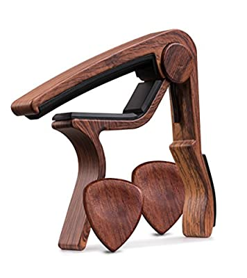 TimbreGear Rosewood Color Guitar Capo REAL WOOD PICKS INCLUDED (2) Set For Acoustic Guitar, Electric Guitar Quick Change For Easy Transpose by TimbreGear