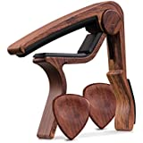 TimbreGear Rosewood Color Guitar Capo REAL ROSEWOOD PICKS INCLUDED (2) Set For Acoustic Guitar, Electric Guitar For Easy Transpose