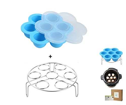 Egg Bites Molds for Instant Pot Accessories by ULEE - Fits Instant Pot 5/6/8 qt Pressure Cooker, Both the Tray and Lid Made of Silicone, Stainless Steel Egg Steam Rack Included (Blue) (Silicone Rack Steam)