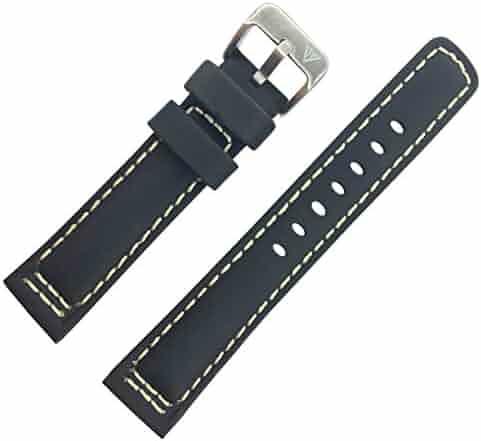 Dakota 19361  Black Genuine Leather, Padded Watch Band with White Stitching (20mm, 22mm, 24mm, 26mm, 28mm)(28mm)