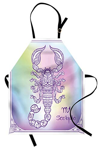 Lunarable Scorpio Apron, Pastel Rainbow Toned Color Change Pattern Constellation Scorpion and Sign Motif, Unisex Kitchen Bib Apron with Adjustable Neck for Cooking Baking Gardening, Multicolor -