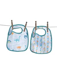 Soft 2 Pack 100% Soft Muslin Cotton Snap Bibs, Dinosaurs