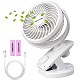 Lifeholder Clip on Fan, Desk Fan with USB Charging Cable, Rechargeable Battery Operated Fan, Stepless Speed Regulating Portable Fan Perfect for Bedroom, Baby Stroller, Office or Camping