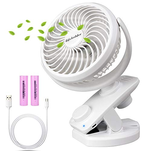 Lifeholder Clip on Fan, Desk Fan with USB Charging Cable, Rechargeable Battery Operated Fan, Stepless Speed Regulating Portable Fan Perfect for Bedroom, Baby Stroller, Office or Camping by Lifeholder
