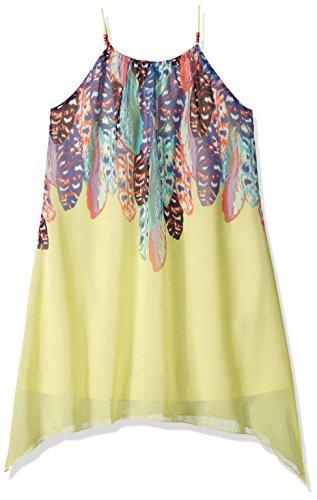 (Amy Byer Girls' Big Spaghetti Strap Feather Print Dress, Yellow 14)