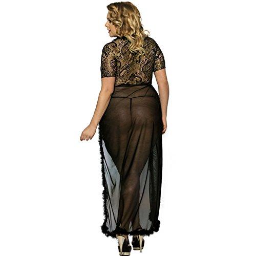 Trasparente Pizzo Kimono Collo V Da Accappatoio Lungo Notte Donna Manica LvRao Corta Camicie Nero Sexy Intimo Pigiama Mesh Vestito Lingerie PERI77Uq