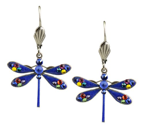 - Anne Koplik Dragonfly Earrings, Silver Plated Dangle with Swarovski Elements Crystal