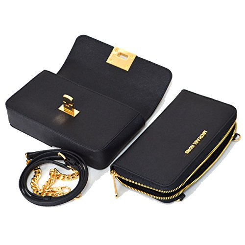 40c130bc73b2 MICHAEL Michael Kors Tina Clutch Crossbody with Detachable Wallet (Black):  Handbags: Amazon.com