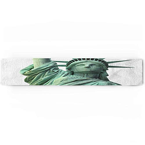 - Statue of Liberty Famous American Monument Landscape Illustration Cotton Table Runner Decorative - Holiday Table Setting Decor Single Layer 16x72inch