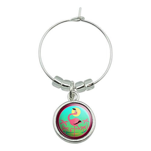 Flamingo Palm Trees Tropical Vacation Wine Glass Charm Drink Marker ()