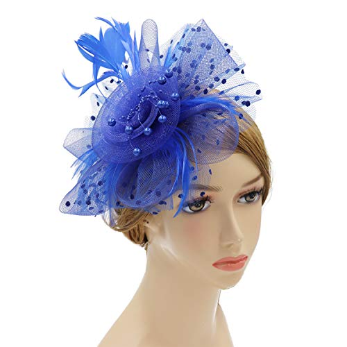 Wheebo Fascinator Hat Flower Feather Mesh Net Veil Party Wedding Headband for Women Girls (A-Blue)