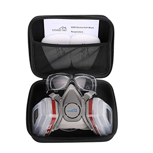 Yinshome Respirator Mask(Plus Safety Glasses)-Gas Mask with Dual Filter Cartridges for Breathing Protection Against Dust,Organic Vapors,Chemicals-Breathing Mask For Woodworking,Paint Spray
