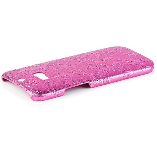 iCues | Compatible with HTC One M8 | Chrome Flower Case Pink | [Screen Protector Included] Floral Cover Crystal Diamond Rhinestone Bling Shell Glitter Women Girl